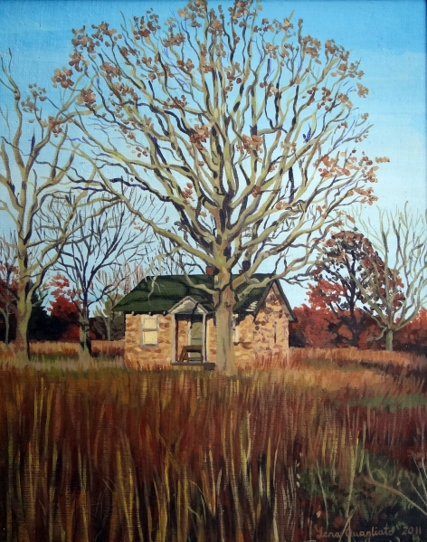 This painting is a few years old, but I never had the chance to get a good photo doc of it until now. Just in time for autumn, my favorite time of year!