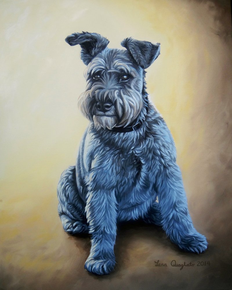 Schnauzer Dog Pet Portrait Oil Painting Sm Fine Art And