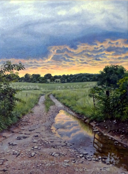 sunset-painting-oil painting-fields-farm-landscape