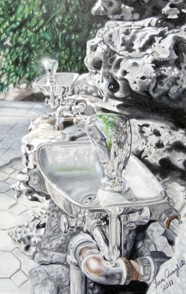 colored pencil, water fountain, drawings, art, abstract