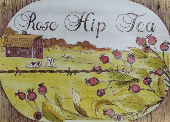 """Rose Hip Tea"" Painted with natural tea colors. Original design (Available in archival Prints)"