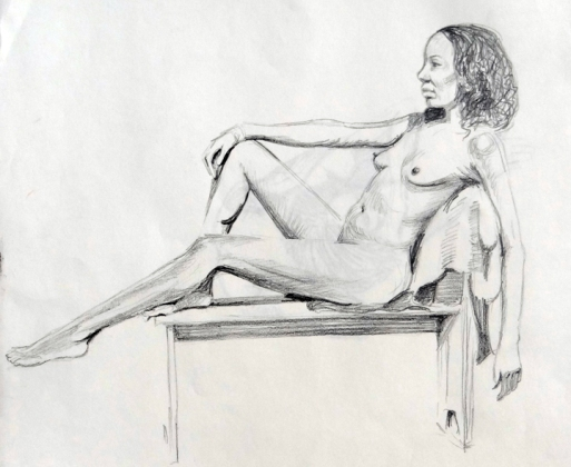 Reclining nude 1. Pencil