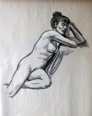 Sleeping nude. Charcoal