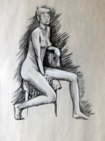 Nude sitting. Charcoal