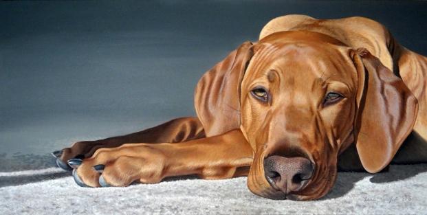 """Monty"" Hyperrealistic 18x36"" Acrylic dog portrait"